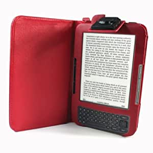 Amazon Kindle Keyboard (3 3G WiFi) Light Case - Illumicase Red Leather Lighted Cover Folio Case With Built In Light - Kindle Tasche / Hülle / Etui