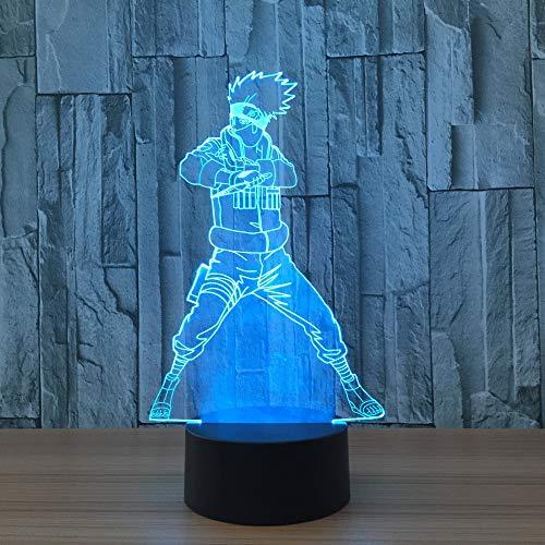 f5c8a83f079a 7 Colores 3D Lámpara Led Naruto Figura de Acción Kakashi Luces Nocturnas 3D  Luces Visuales Escritorio