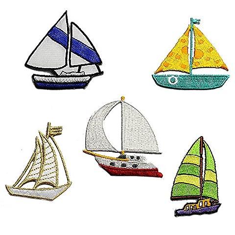 5pcs Broderie Ship Iron on Patch badge Sac Chapeau Pantalon Applique voilier Stickers