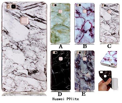 Wkae Case Cover Marble motif de pierre souple pour Huawei P9 Lite IMD hybride TPU lisse Soft Silicnone de protection arrière coque pour Huawei P9 Lite ( Color : 5 , Size : Huawei P9 Lite ) 4