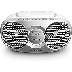 Philips AZ215S Lecteur CD,CD-R,RW Portable, Facile à Utiliser pour Enfants, avec Radio FM, Entrée Audio - Argent et Blanc