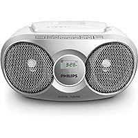Philips AZ215S Lecteur CD,CD-R,RW Portable, Facile à Utiliser pour Enfants, avec Radio FM, Entrée Audio, Argent et Blanc