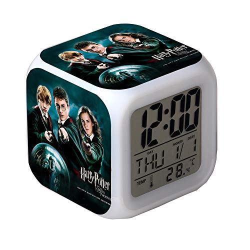 Harry Potter Alarm Clock Bunte Kreative Digitale Elektronische Alarm Clock Cartoon Anime Nachtlicht Wecker - Bestes Geschenk für Kinder,005 (Anime-alarm)