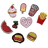 ximkee (10Stück) Delicious Food bestickt Sew Iron on Patches Pailletten Applikationen multi