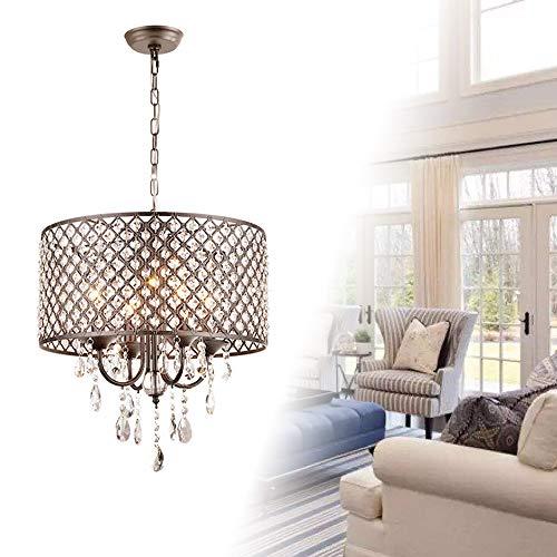 Froadp Kristall Hängelampe Metall Lampenschirm Lüster Pendelleuchte E14 Sockel Modern Design Deckenlampe mit Keine Glühbirne enthalten für Wohnzimmer Schlafzimmer(Zylindrisch)
