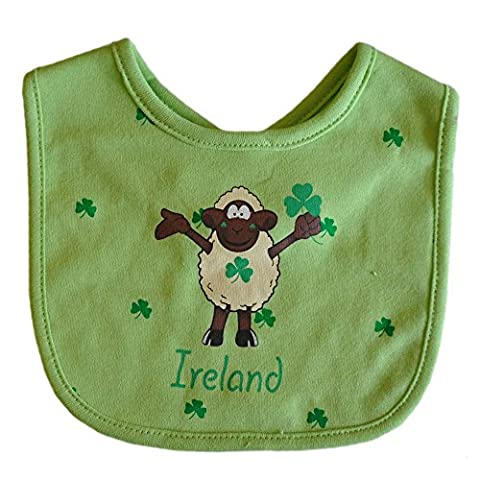 Seamus The Sheep Green Bib With Shamrock Design And Ireland Text