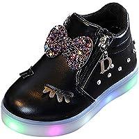 Gusspower Zapatillas de Deporte para Niños Bebé Infantiles Crystal Bowknot LED Luminoso Botas Calzado