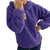 Damen Fleecejacke Sweatjacke Jacke Mit Kapuze Oversize Teddy Hoodie MYMYG Kapuzepullover Kapuzejacke Fleece Pullover Warme Flauschjacke Wintermantel(C3-Lila,EU:40/CN-L)