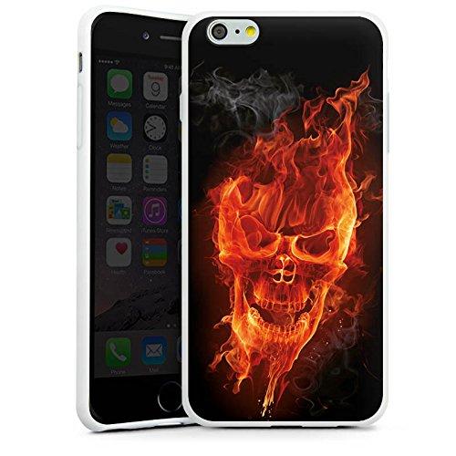Apple iPhone 6 Hülle Case Handyhülle Totenkopf Feuer Rocker Silikon Case weiß