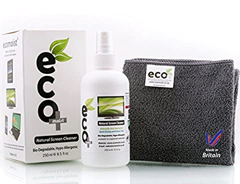 Ecomoist Natural Screen Cleaner 250ml with Fine Microfiber