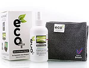 Ecomoist KIT De Nettoyage 250Ml + Serviette en microfibres extra fines 100% de fines herbes Aucun produit chimique, Pas d'acides, Nettoie toutes les poussières et les taches Sans substances alcoolisées.