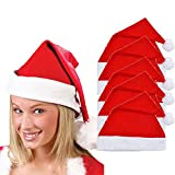 WUDUBE Women Men Unisex Adult Cute Xmas Holiday Red Cap Santa Novelty Hat for Christmas Party (26cmx34cm, Red)