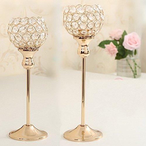 Pack de 2 soportes para vela de cristal Bengala, Jewel forma de...