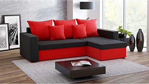 Justhome fresh ii divano angolare divano letto microfibra (lxlxa): 142x237x75 cm nero rosso penisola a destra