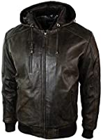 Mens Brown Washed Distressed Removable Hood Bomber Leather Jacket Quilted