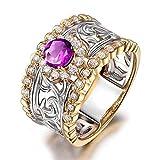 KnSam Ring 925 Silber Damen Verlobungsringe Echt Amethyst Hollow Fingerring Jahrestag Geschenk für Frauen Mutter - Gold Gr.63 (20.1) Modeschmuck