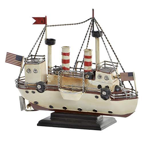 Hogar y Mas Barco Estadounidense Vintage, Figura Decorativa de Metal muy Original. Diseño Americano/Realista 25,7X10,5X21 cm