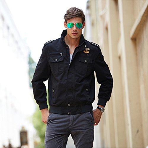 WS668 Frühling Herbst Herren Freizeit Classic Mäntel Stehkragen Mens Coats Mode Bomber Jacke Schwarz#1