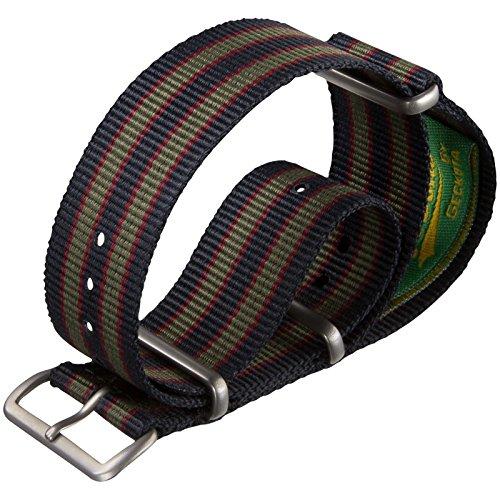 correa-del-reloj-vintage-bond-nylon-nato-franja-azul-rojo-verde-oscuro-22mm-satinado