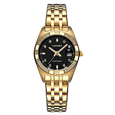 LONGBO IP Gold Plating Womens Luxury Vintage Black Face Silver Stainless Steel Band Watches Diamond Dial Big Date Wristwatch For Female