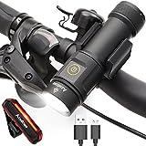 Fahrradlicht Set, USB Wiederaufladbare led Fahrradbeleuchtung, 3 Licht-Modi Fahrradlampe 1000 Lumen Frontlichter und Rücklicht