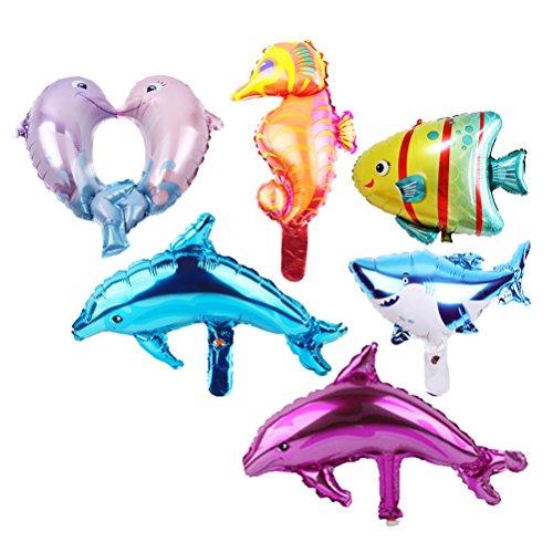 TOYMYTOY Aufblasbare Meerestiere Folien Luftballons - Party Luftballons von Hai, Delphin, Seepferdchen, Tropischen Fischen und Bubble Fish 5er