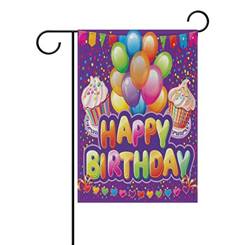 fdgjfghjdfj Happy Birthday Garden Flag Double Sided Home Decorative, Magic Greeting Cupcakes Balloons House Yard Flag, 12 x 18 Inch Holiday Party Outdoor Flag Best Birthday Gift