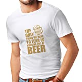 T-Shirt pour Hommes Avoir Peur de ne Pas Avoir de Bière - pour la Fête, Les Chemises à Boire (XX-Large Blanc Or)...