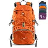 Pokarla Faltbare Durable Travel Wandern Rucksack 35L Ultra Leichte Packable Weitermachen Daypack Unisex für Camping/Outdoor Sports Orange