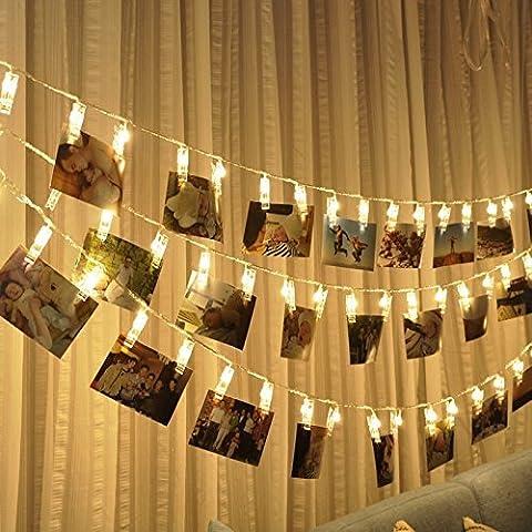 40 LED Foto Clips Lichterketten ,Stimmungsbeleuchtung Dekoration ,Dauerlicht Weihnachtsbeleuchtung Sternenlicht Licht Wanddekoration Licht für hängende Fotos Gemälde Bilder Karte und Memos, 16,4 Füße(5m), USB Powered, warmes Weiß
