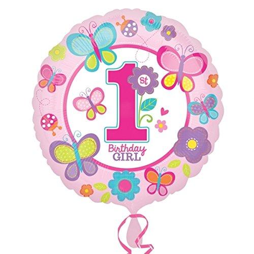 Amscan Standard-C Geburtstagsluftballon, für Mädchen, mit englischem (Party City Blume Kostüm Baby)