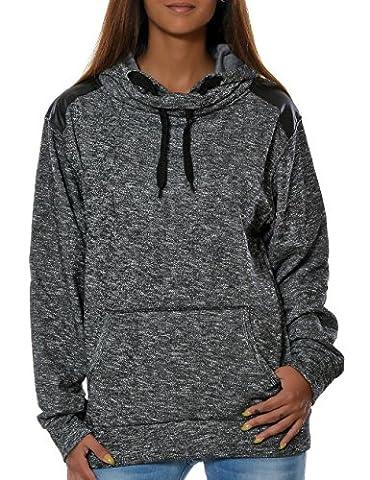 Damen Kapuzen-Pullover Sweatshirt-Jacke Hoodie (weitere Farben) No 15715, Farbe:Schwarz, Größe:M /