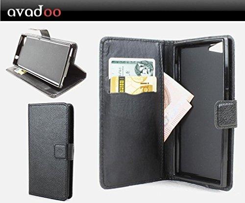 avadoo® Wiko Highway Signs Flip Case Cover Tasche in Schwarz mit Magnetverschluss und Dualnaht als Cover Tasche Hülle