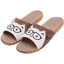 Zapatillas de estar Por casa Para Mujer Hombre Niño,Lino Natural Zapatos Chanclas Verano Primavera