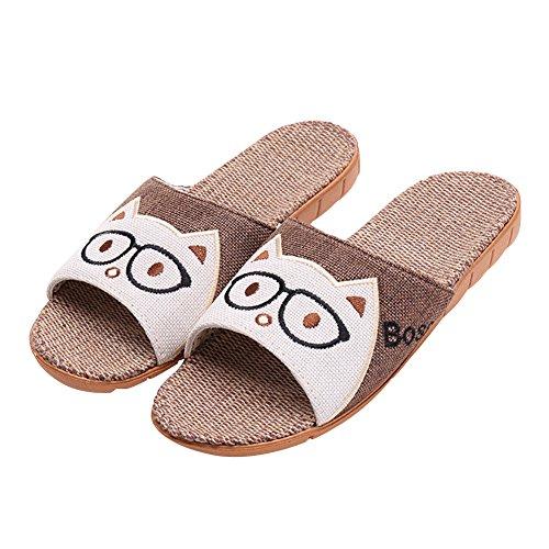 Katliu ciabatte casa estive/per donna uomo bambini/pantofole aperte interno scarpe/con suola antiscivolo/marrone 39/40