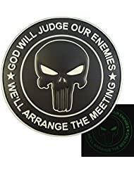 ALL BLACK GOD WILL JUDGE OUR ENEMIES Glow Dark Punisher DEVGRU Navy Seals PVC Touch Fastener Patch