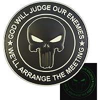 ALL BLACK GOD WILL JUDGE OUR ENEMIES Glow Dark Punisher DEVGRU Navy Seals PVC Touch Fastener Patch