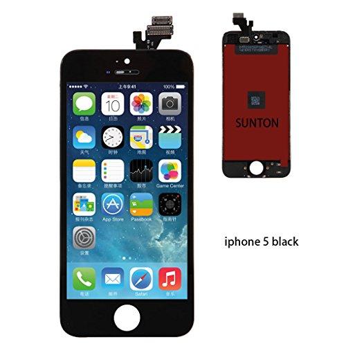 SUNTON LCD Display Touchscreen Ersatz Bildschirm Front Komplettes Glas für iPhone 5 schwarz (Digitizer Lcd-screen-glas)