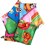 #7: A'SHOP Premium Cotton Towel Hankies with Multicolored Printed with Monkey face, Flower, Cloud & Banana designs Handkerchief 100% Cotton for Kids, women, girls (Pack of 6)