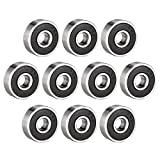 sourcing map 626-2RS Ball Bearing 6mm x 19mm x 6mm Double Sealed 180026 Deep Groove Bearings, Carbon Steel (Pack of 10)