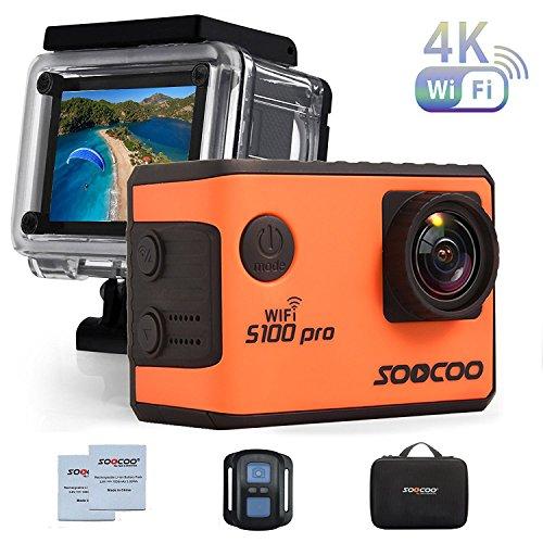 Soocoo S100Pro Action Kamera 4K WLAN Unterwasser Camcorder, 5,1cm Touch Display, 20MP Sport Kamera mit 170Grad Weitwinkel-Objektiv, 2,4G Fernbedienung, integriertem Gyroskop, Zubehör-Kit inklusive (4k Pro Camcorder)