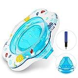 Renfox Baby Schwimmring mit Schwimmsitz, Aufblasbarer Schwimmring Kinder Schwimmring für Kleinkinder von 6 Monaten bis 3 Jahren(Blau & Fisch)