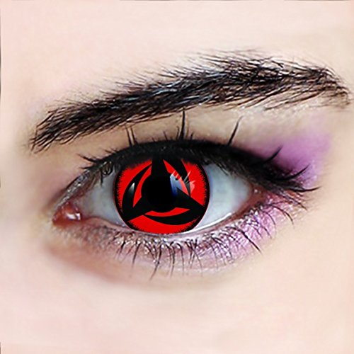 Crazy Fun Colour Color Contact Lens lenses Farbig Kontaktlinsen lentille for Halloween XMAS Party Cosplay Red (((KAKASHI))) Naruto Ninja Film movie uk