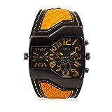 iLove EU Herren Armbanduhr Japanisches Quarz Analog Dual-Bewegung Doppel Zeitzonen Sport Uhr mit Gelb Zifferblatt und Schlangenhaut Leder Armband