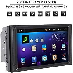 """Qiilu Autoradio 7"""" Tableau de Bord Lecteur MP5 2 Din Ecran Tactile HD Bluetooth Stéréo Navigation GPS Multimédia BT WiFi AM/FM"""