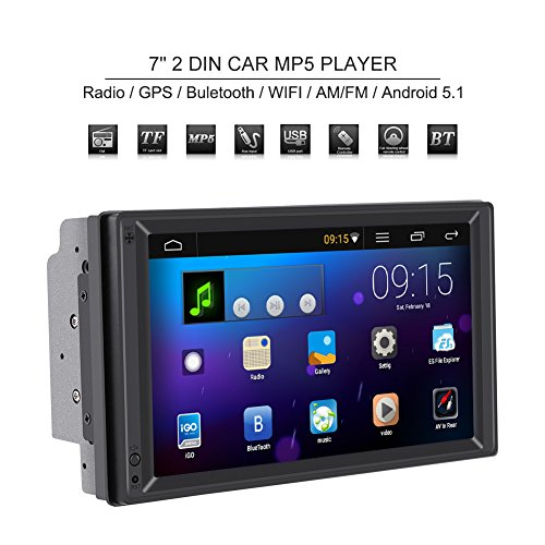 Qiilu Universal 7 Inch 2 DIN Multimedia Player MP5 Bluetooth Stereo Radio GPS Navigation and WiFi Am / FM HD Touch Screen Android 5.1 for Car