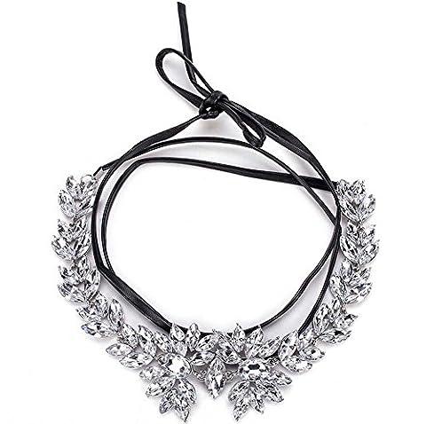 aux femmes simple personnalité Collier de collier Multicouches nœud papillon Corde en cuir Dentelle diamant Collier Clavicule Vêtements accessoires , white
