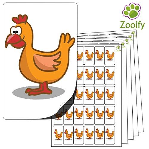 480 x Aufkleber - Huhn (38 x 21 mm). Hochwertige selbstklebende Etiketten mit Tiermotiv von Zooify.