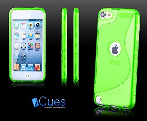 Apple iPod Touch 5 / 5G | iCues S-Line TPU Case Grün | [Display Schutzfolie Inklusive] Transparent Klarsichthülle Durchsichtig Klare Klarsicht Silikon Gel Schutzhülle Hülle Cover Schutz (Ipod Touch 5 Display-schutzfolien)