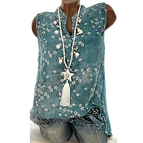Florale Fleece Hoodie (SUCES Summer Fashion Elegante T-Shirt Damen Große Größen V-Ausschnitt Tops Frauen Spitzennähte Floral Bluse Kurzarm T-Shirt Mode Beiläufige Pullover Tees (Blau -1, L))